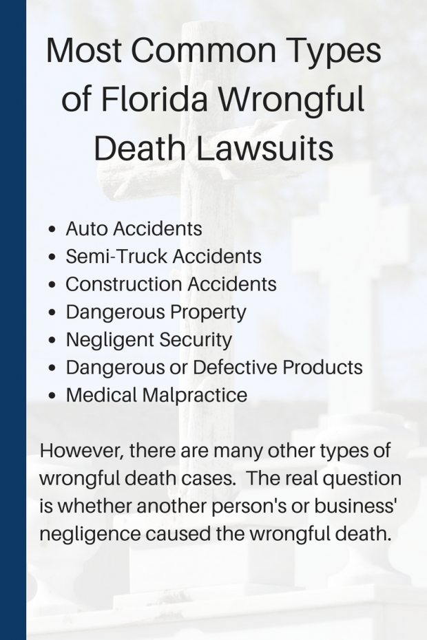 Most Common Types of Florida Wrongful Death Lawsuits